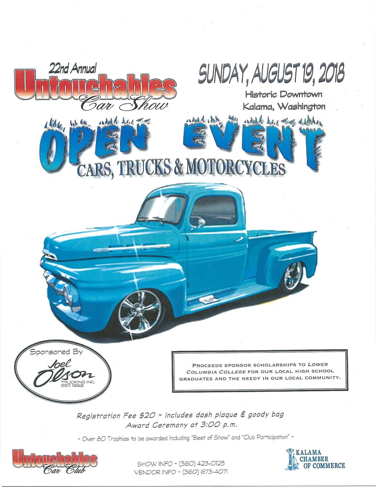 City Of Kalama Calendar Month View Annual Untouchables Car Show - Car show calendar
